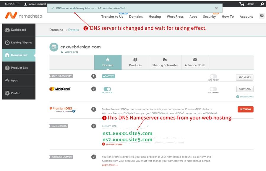 domain point hosting