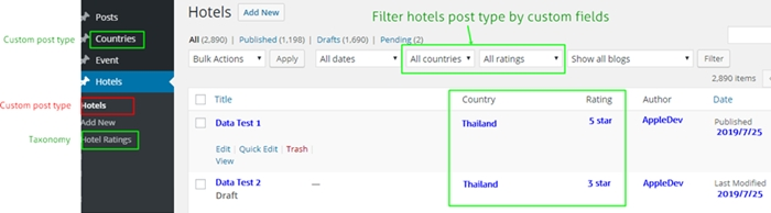 hotels filter