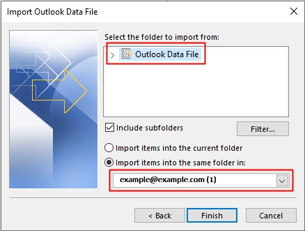 outlook import email pst