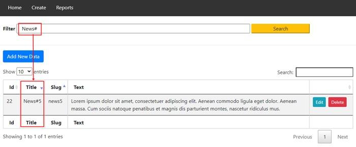 filter form codeigniter result