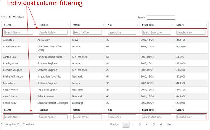 individual column filtering
