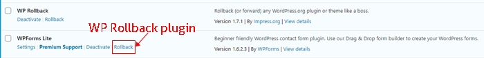 Rollback plugin to previous version