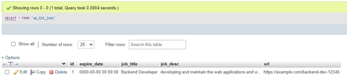 tbl jobs initial data