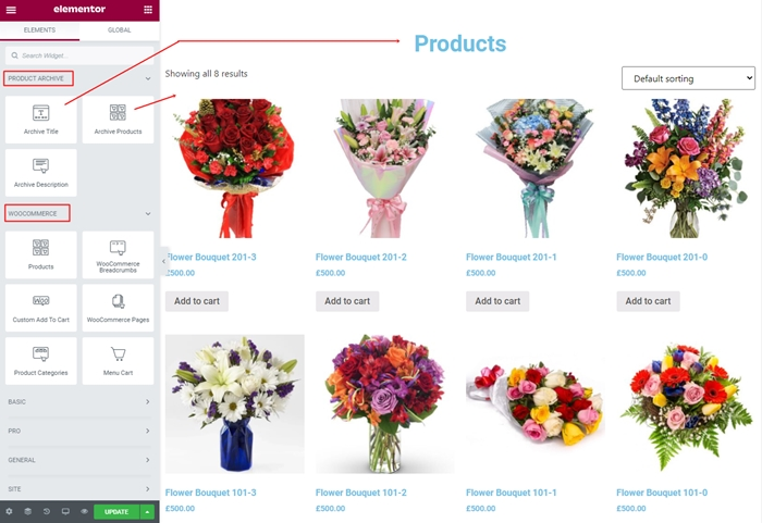 add title product lists on shop