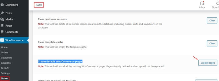 create default woo pages