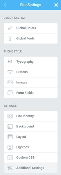 site settings elementor pro