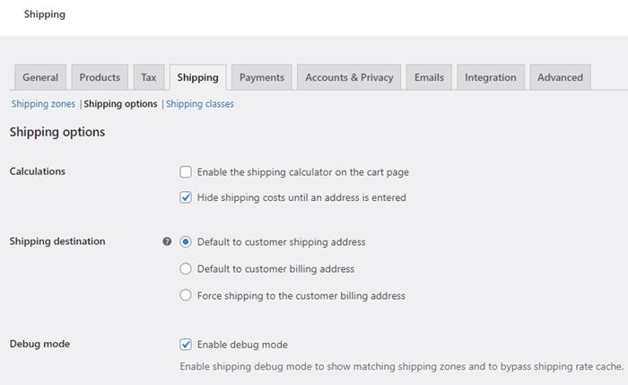 shipping options settings